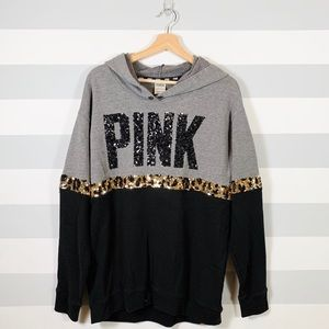 PINK, Leopard Hoodie, Medium, Black and Gray